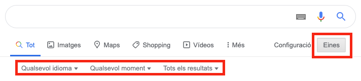 Eines de cerques avançades a Google